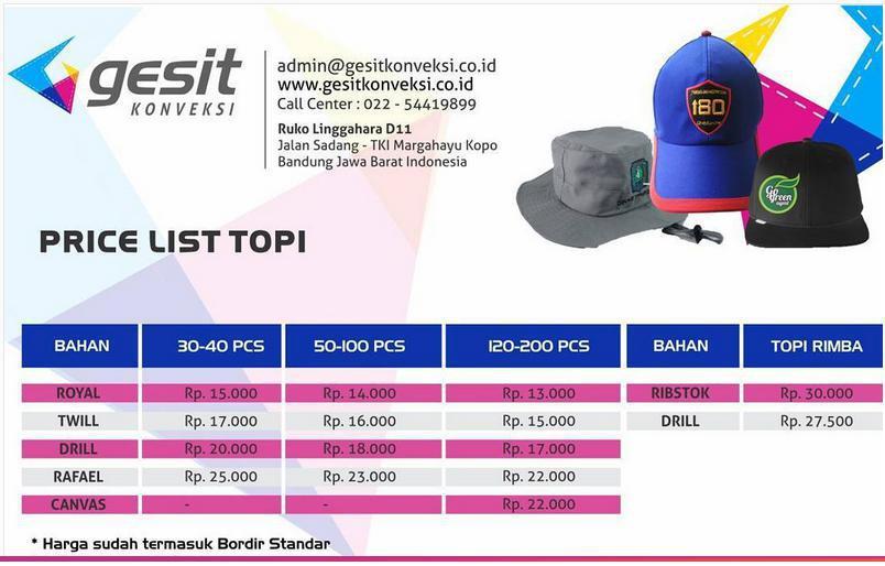 Daftar Harga Pembuatan Topi Tlp SMS WA 085222213999 7b26e68edc